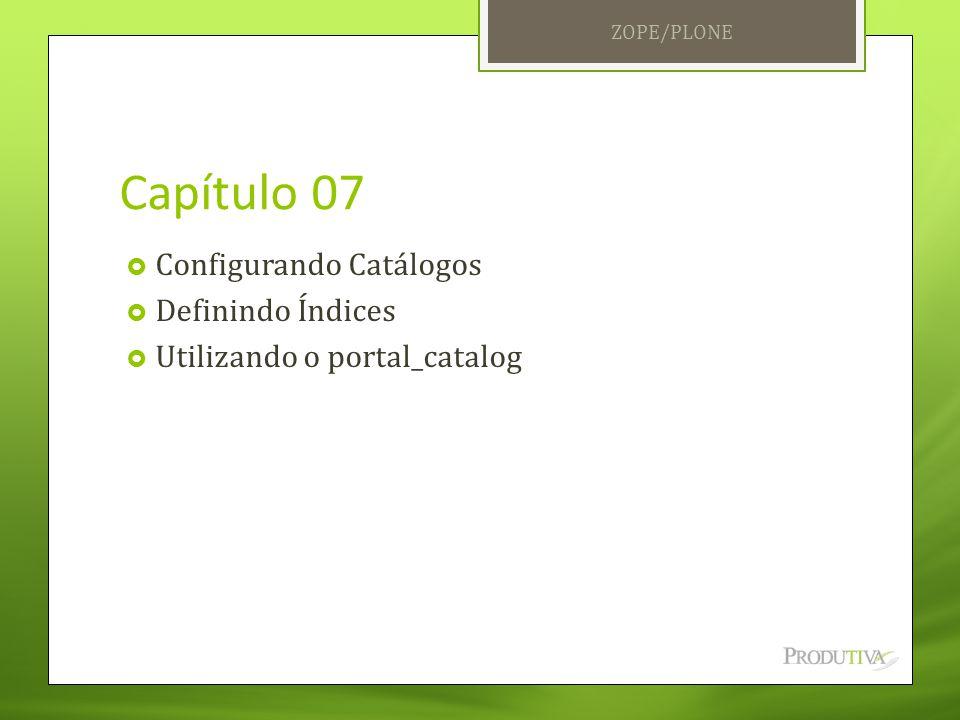 Capítulo 07  Configurando Catálogos  Definindo Índices  Utilizando o portal_catalog ZOPE/PLONE