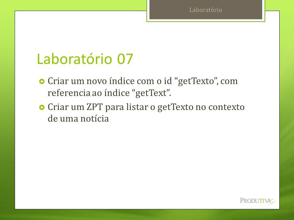 """Laboratório 07  Criar um novo índice com o id """"getTexto"""", com referencia ao índice """"getText"""".  Criar um ZPT para listar o getTexto no contexto de um"""