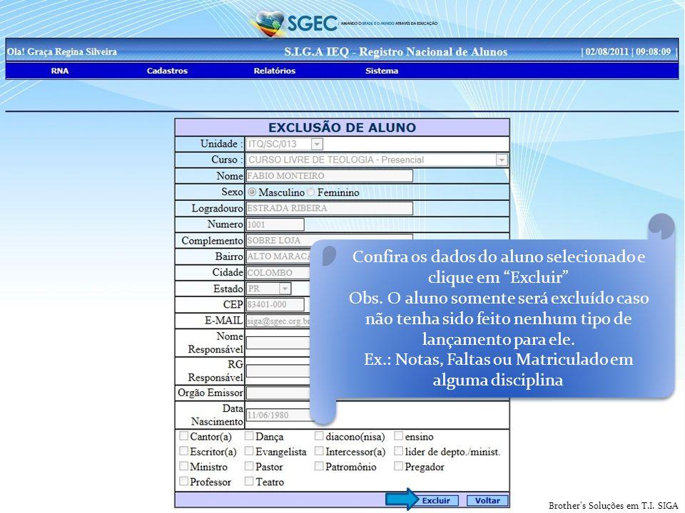 Brother's Soluções em T.I. SIGA Confira os dados do aluno selecionado e clique em Excluir Obs.