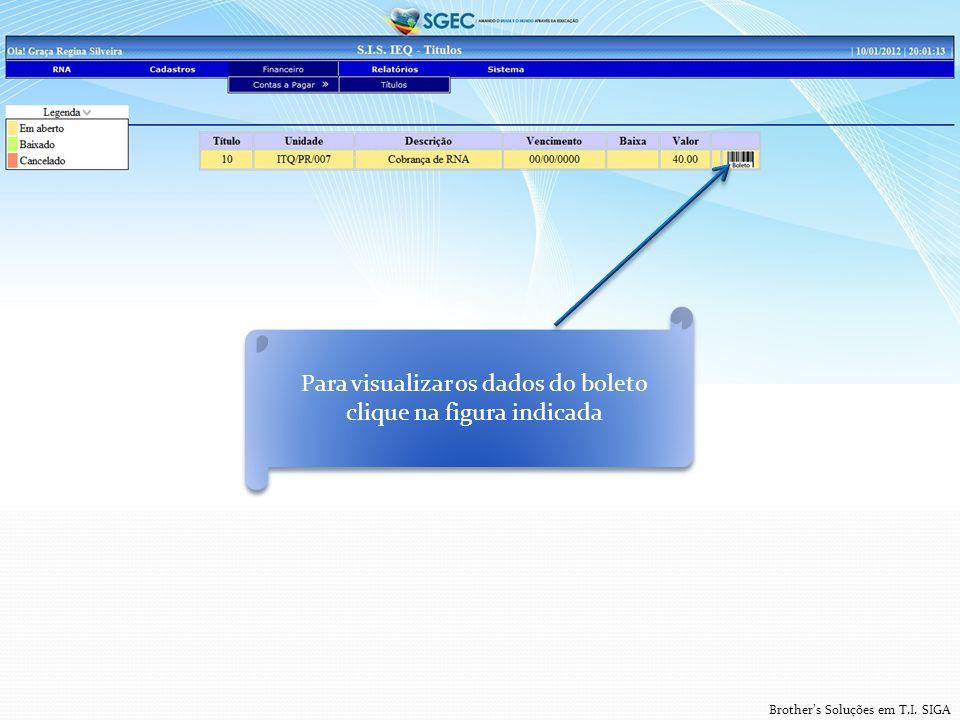 Brother's Soluções em T.I. SIGA Para visualizar os dados do boleto clique na figura indicada