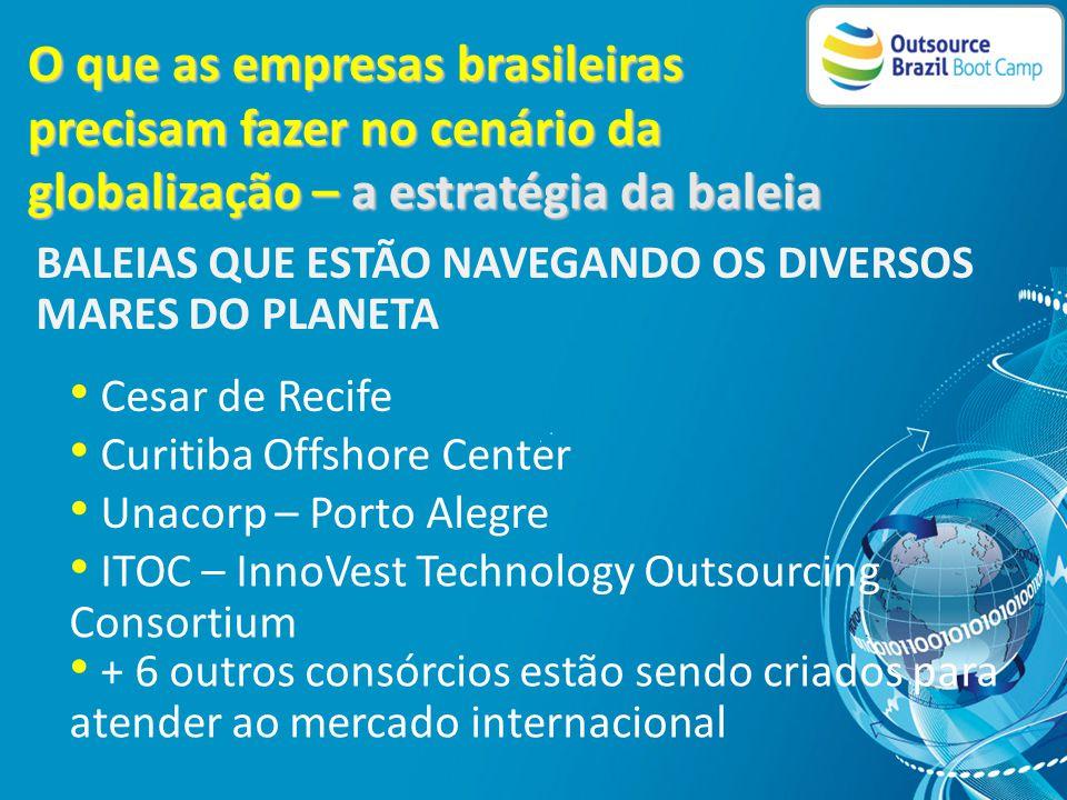 O que as empresas brasileiras precisam fazer no cenário da globalização – a estratégia da baleia Todos Nós somos mais capazes do que somente um de nós • Clusterização é uma saída para a necessidade de escalabilidade • Clusterização é uma saída para a necessidade de investimentos • Clusterização é uma saída para a necessidade de aumentar a oferta e escopo de portfolio
