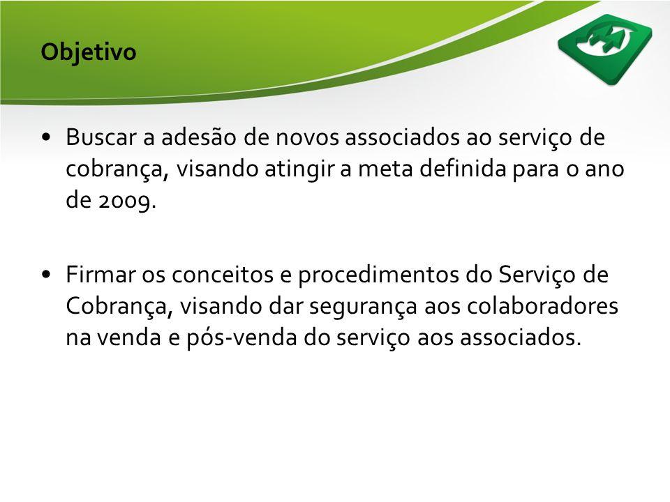 Objetivo •Buscar a adesão de novos associados ao serviço de cobrança, visando atingir a meta definida para o ano de 2009.