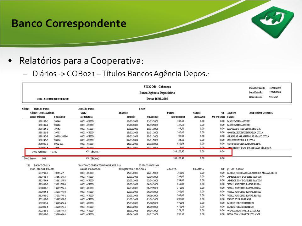 Banco Correspondente •Relatórios para a Cooperativa: –Eventuais -> Entradas no Período: