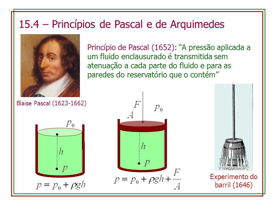 15.4 – Princípios de Pascal e de Arquimedes Blaise Pascal (1623-1662) Princípio de Pascal (1652): A pressão aplicada a um fluido enclausurado é transmitida sem atenuação a cada parte do fluido e para as paredes do reservatório que o contém Experimento do barril (1646)