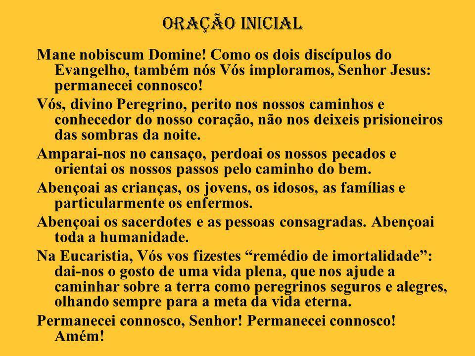 Oração Inicial Mane nobiscum Domine! Como os dois discípulos do Evangelho, também nós Vós imploramos, Senhor Jesus: permanecei connosco! Vós, divino P