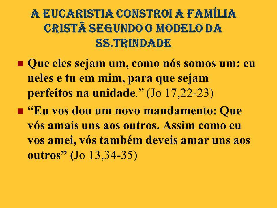 A Eucaristia conStroi A família CRISTÃ SEGUNDO O MODELO DA SS.TRINDADE  Que eles sejam um, como nós somos um: eu neles e tu em mim, para que sejam pe