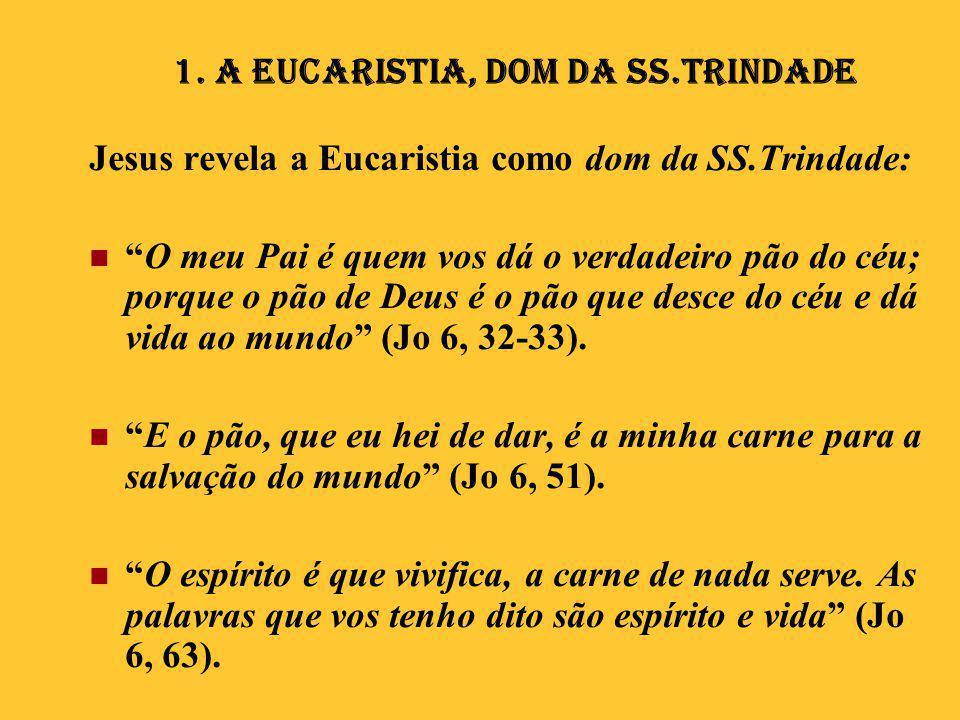 """Jesus revela a Eucaristia como dom da SS.Trindade:  """"O meu Pai é quem vos dá o verdadeiro pão do céu; porque o pão de Deus é o pão que desce do céu e"""