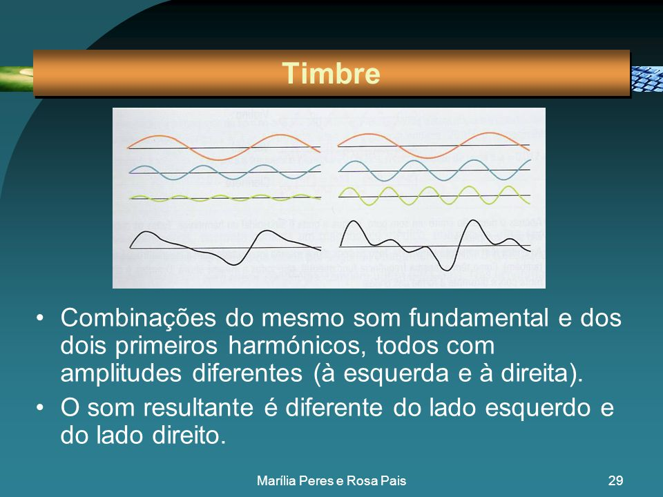 28 Timbre •Permite distinguir dois sons com a mesma intensidade e a mesma frequência, mas produzidos por instrumentos diferentes. •O timbre resulta da