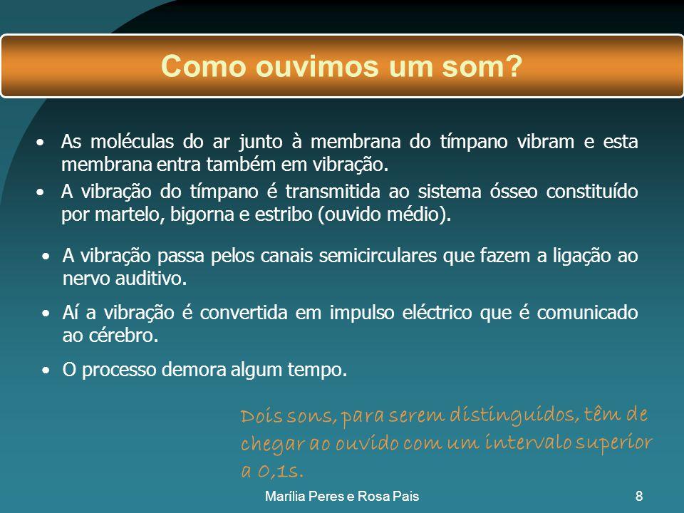 38 Vídeo sobre as características do som: http://uk.youtube.com/watch?v=6p7AGK4GLw8 Marília Peres e Rosa Pais
