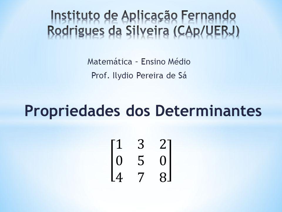 O cofator (C ij ) de um elemento a ij de uma matriz quadrada A é igual ao produto do menor complementar por (-1) i+j, ou seja: C ij = (-1) i+j x D ij Definições: A matriz formada pelos cofatores de TODOS os elementos de uma matriz quadrada é denominada de Matriz Cofatora e a transposta da matriz Cofatora é denominada de Matriz Adjunta (Adj (A)).