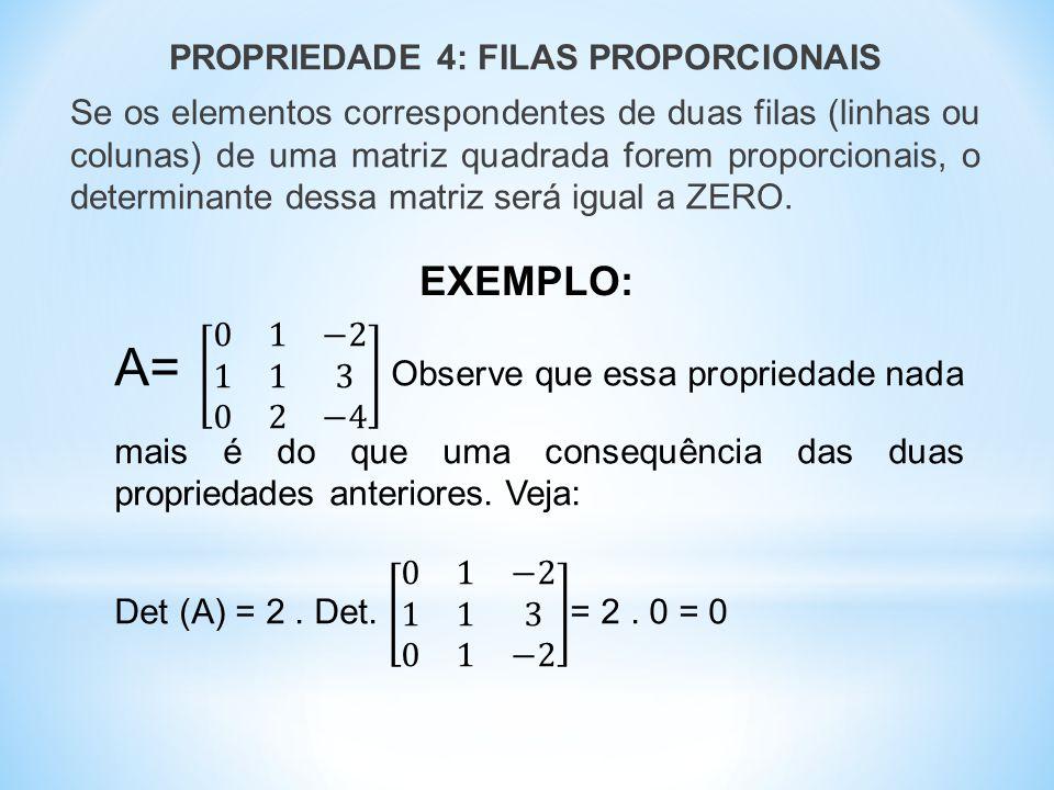 PROPRIEDADE 4: FILAS PROPORCIONAIS Se os elementos correspondentes de duas filas (linhas ou colunas) de uma matriz quadrada forem proporcionais, o determinante dessa matriz será igual a ZERO.