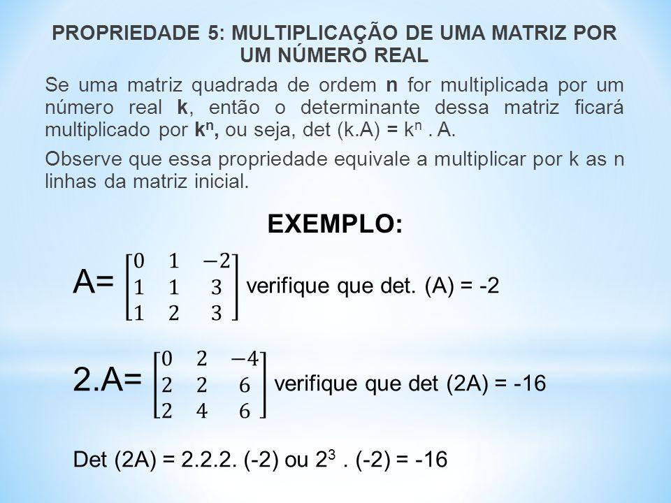 PROPRIEDADE 5: MULTIPLICAÇÃO DE UMA MATRIZ POR UM NÚMERO REAL Se uma matriz quadrada de ordem n for multiplicada por um número real k, então o determinante dessa matriz ficará multiplicado por k n, ou seja, det (k.A) = k n.