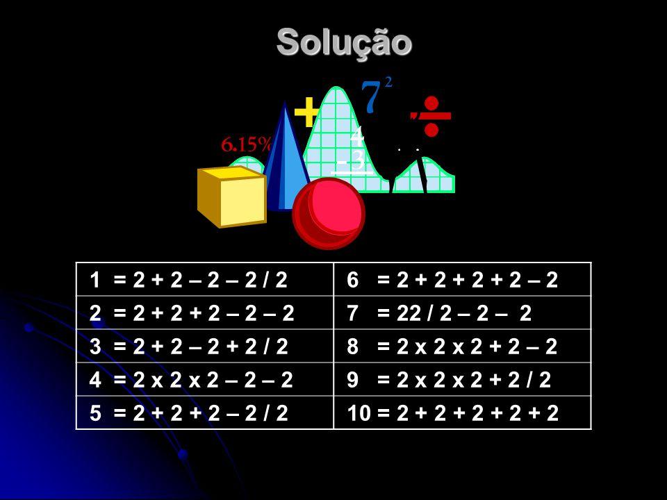 Solução 1 = 2 + 2 – 2 – 2 / 2 6 = 2 + 2 + 2 + 2 – 2 2 = 2 + 2 + 2 – 2 – 2 7 = 22 / 2 – 2 – 2 3 = 2 + 2 – 2 + 2 / 2 8 = 2 x 2 x 2 + 2 – 2 4 = 2 x 2 x 2