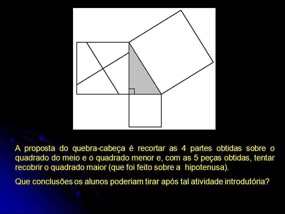 A proposta do quebra-cabeça é recortar as 4 partes obtidas sobre o quadrado do meio e o quadrado menor e, com as 5 peças obtidas, tentar recobrir o qu