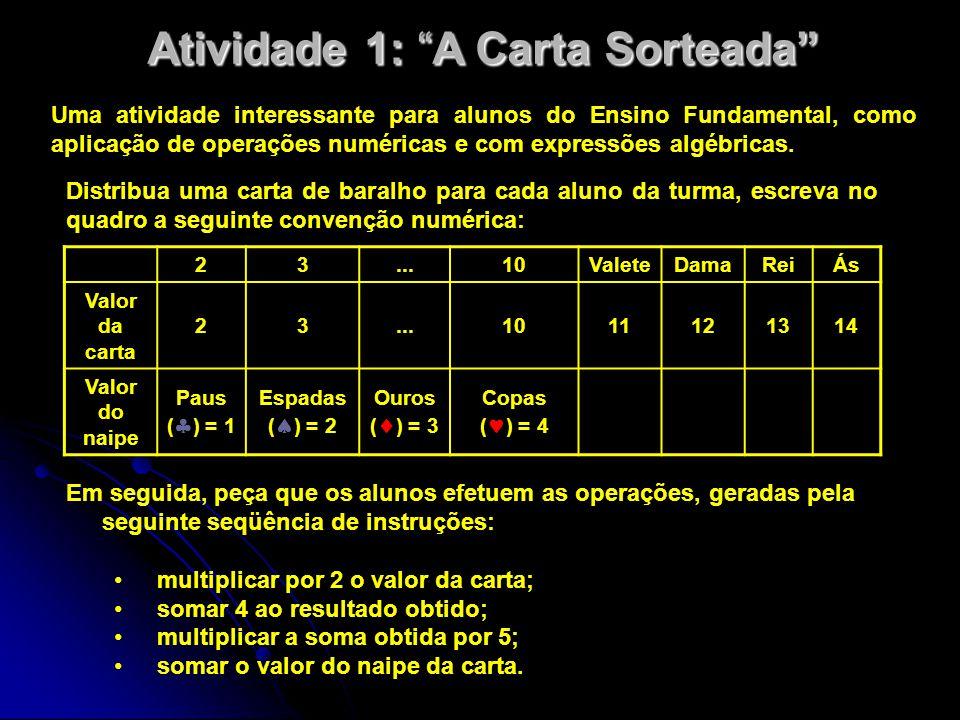 Atividade 1: A Carta Sorteada Uma atividade interessante para alunos do Ensino Fundamental, como aplicação de operações numéricas e com expressões algébricas.
