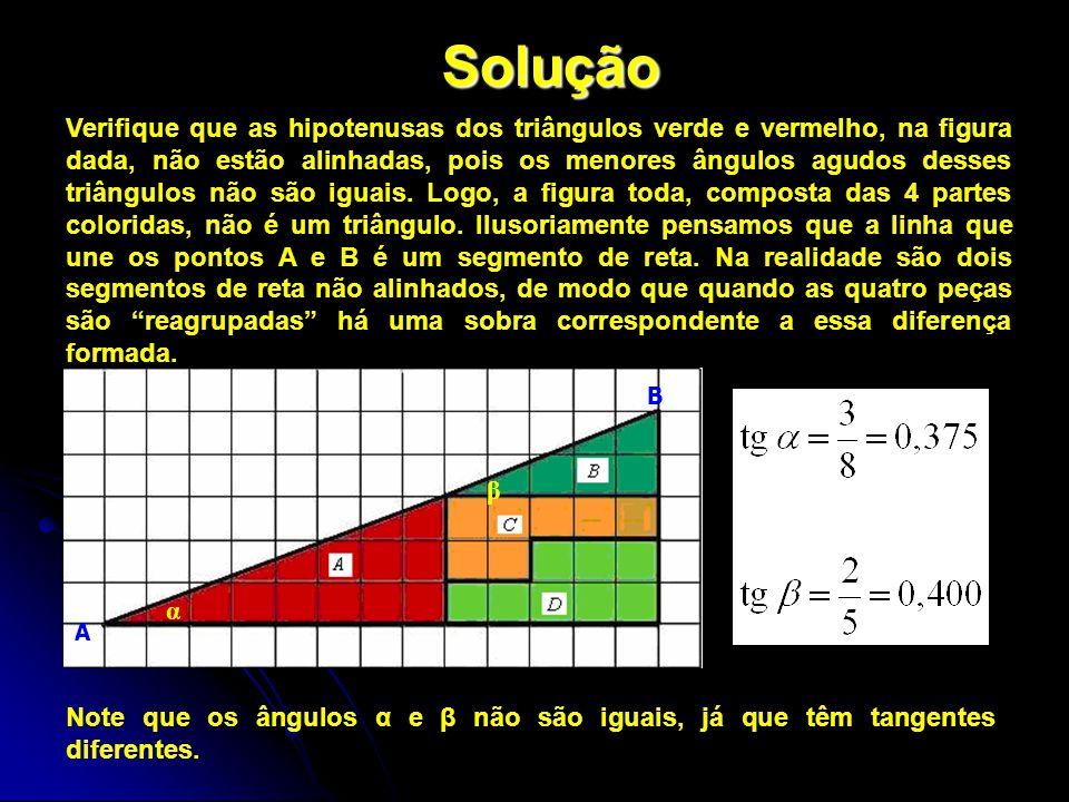 Solução Verifique que as hipotenusas dos triângulos verde e vermelho, na figura dada, não estão alinhadas, pois os menores ângulos agudos desses triân