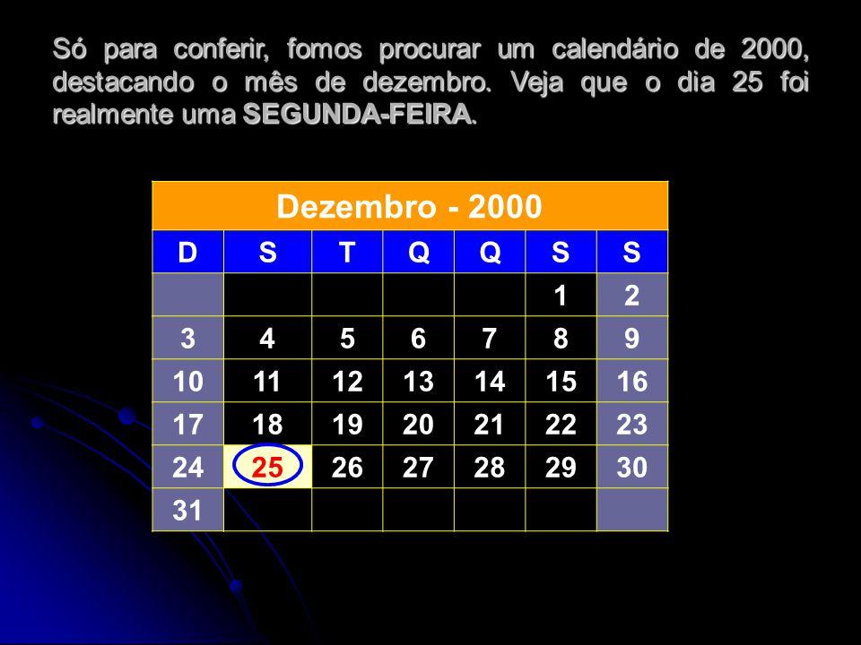 Só para conferir, fomos procurar um calendário de 2000, destacando o mês de dezembro. Veja que o dia 25 foi realmente uma SEGUNDA-FEIRA. Dezembro - 20