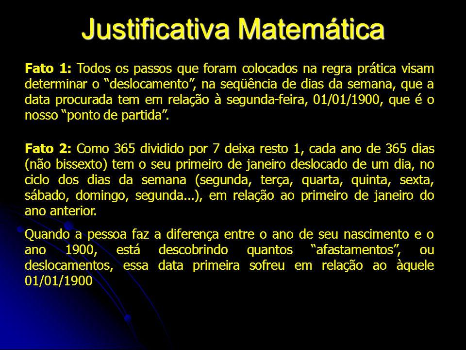 """Justificativa Matemática Fato 1: Todos os passos que foram colocados na regra prática visam determinar o """"deslocamento"""", na seqüência de dias da seman"""