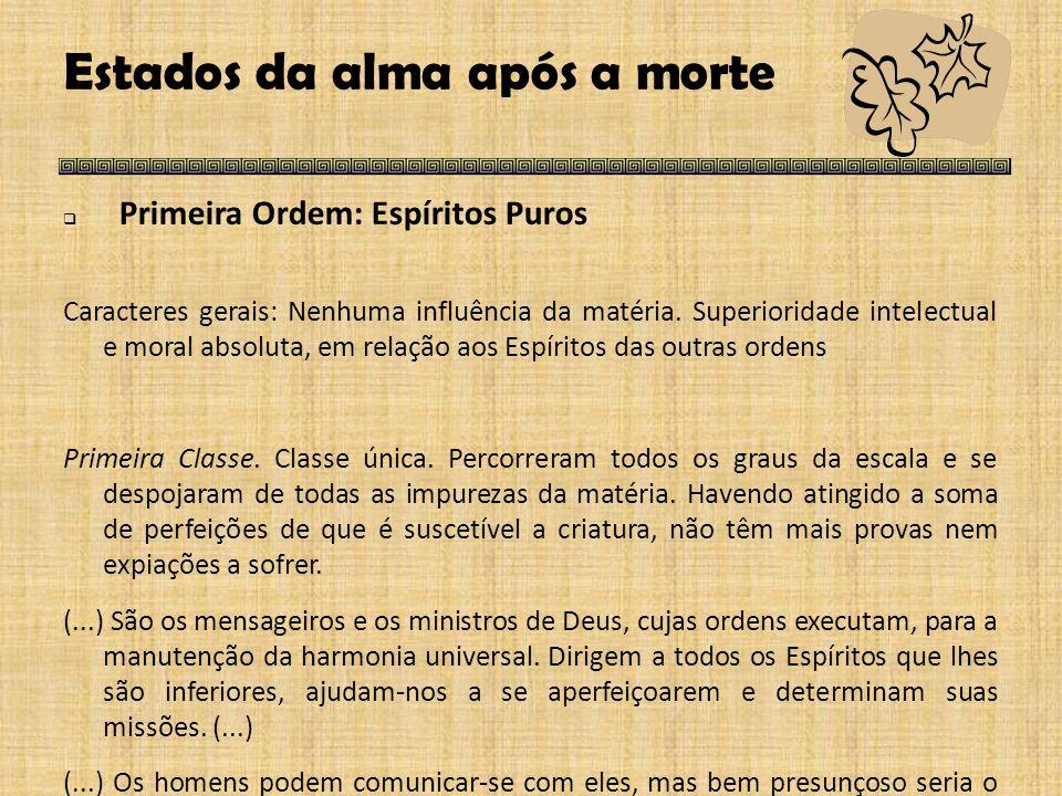 Estados da alma após a morte  Primeira Ordem: Espíritos Puros Caracteres gerais: Nenhuma influência da matéria.