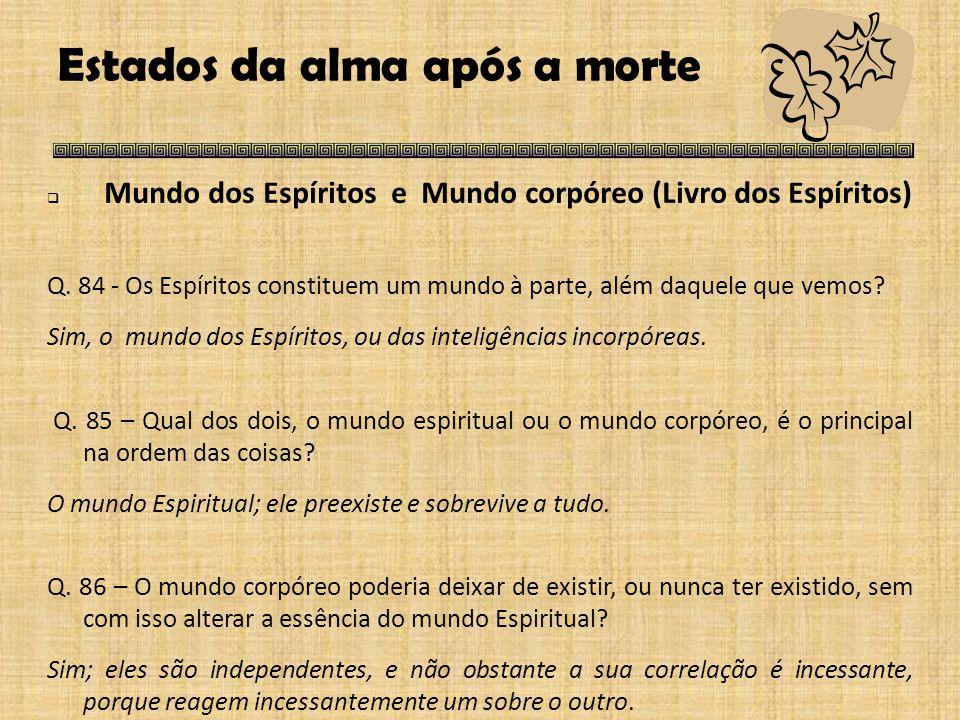 Estados da alma após a morte  Mundo dos Espíritos e Mundo corpóreo (Livro dos Espíritos) Q.
