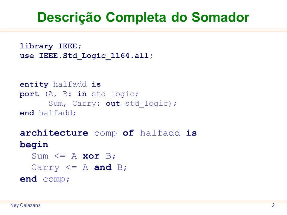 3Ney Calazans Exemplo de Testbench para o Somador library ieee; use ieee.std_logic_1164.all; entity HA_tb is end HA_tb; architecture TB of HA_tb is signal aa, bb, soma, vaium: std_logic; begin UUT: entity work.halfadd port map ( A => aa, B => bb, Sum => soma, Carry => vaium ); aa <= 0 , 1 after 10 ns, 0 after 20 ns, 1 after 30 ns; bb <= 0 , 1 after 20 ns; end TB; Note: testador não tem pinos externos (ports in ou out) Instanciação do projeto, conectando pinos do projeto aos fios do testador Geração dos estímulos, dizendo como pinos se comportam Nome do projeto (entidade)