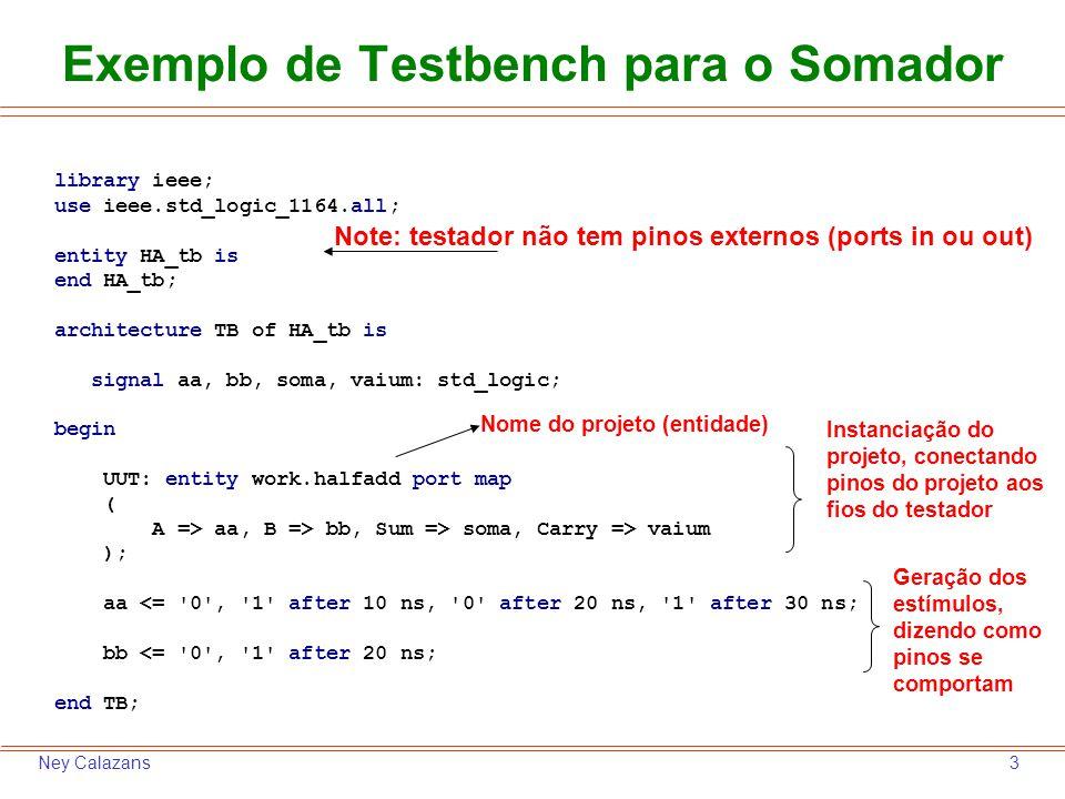 4Ney Calazans Usando o Simulador do ISE da Xilinx 1.Abrir o ambiente ISE da Xilinx 2.Caso algum projeto esteja aberto, feche-o com a opção de menu File  Close Project 3.Crie um novo projeto de nome somador1 com a opção de menu File  New Project.