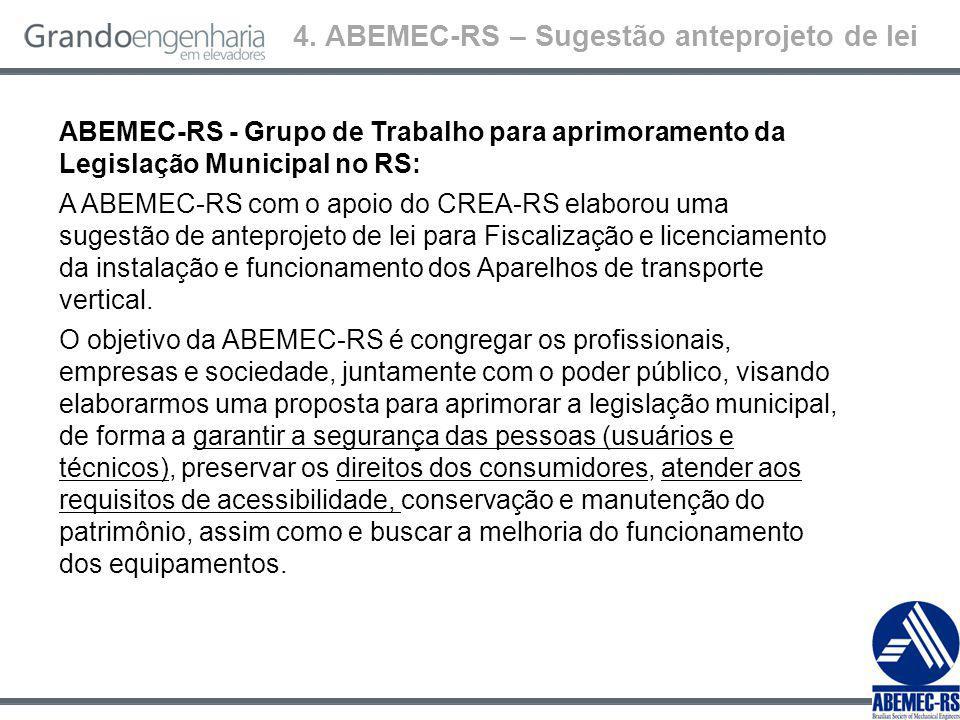 ABEMEC-RS - Grupo de Trabalho para aprimoramento da Legislação Municipal no RS: A ABEMEC-RS com o apoio do CREA-RS elaborou uma sugestão de anteprojeto de lei para Fiscalização e licenciamento da instalação e funcionamento dos Aparelhos de transporte vertical.