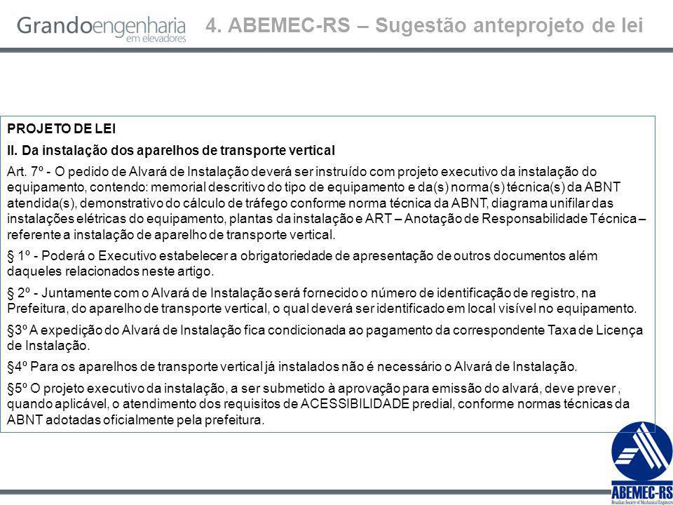 4.ABEMEC-RS – Sugestão anteprojeto de lei PROJETO DE LEI II.