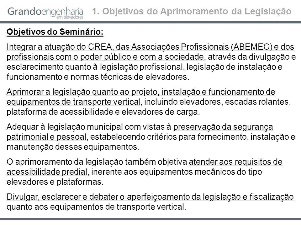 Objetivos do Seminário: Integrar a atuação do CREA, das Associações Profissionais (ABEMEC) e dos profissionais com o poder público e com a sociedade, através da divulgação e esclarecimento quanto à legislação profissional, legislação de instalação e funcionamento e normas técnicas de elevadores.