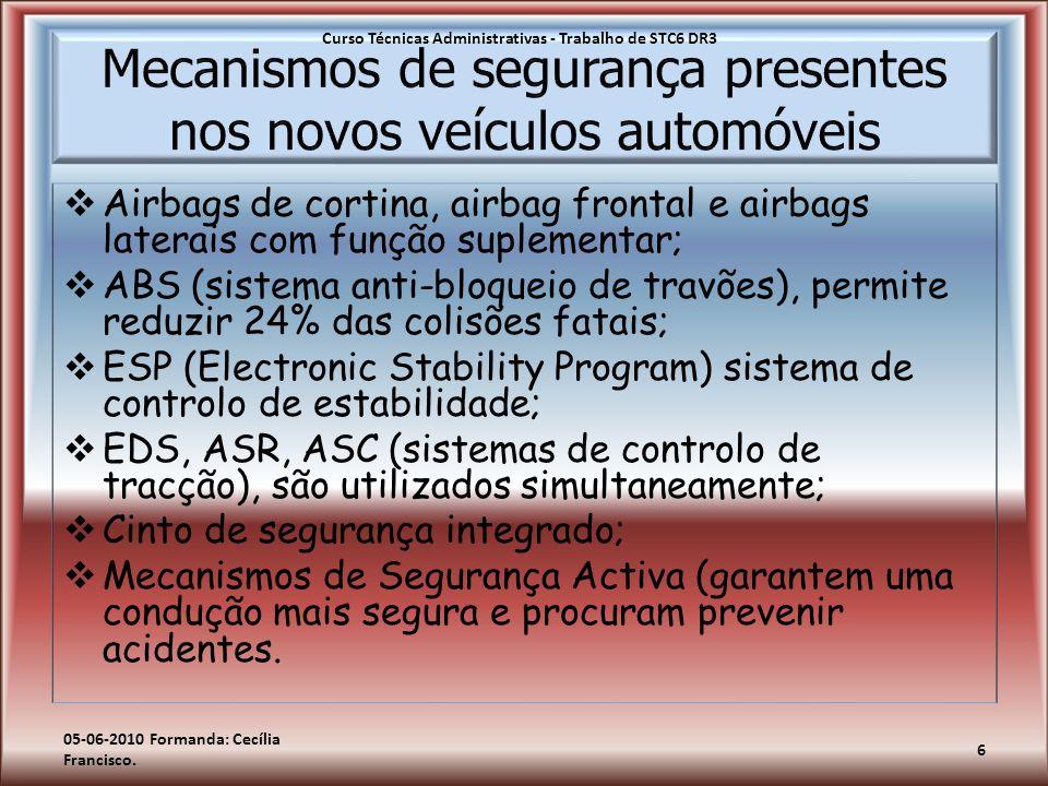  Airbags de cortina, airbag frontal e airbags laterais com função suplementar;  ABS (sistema anti-bloqueio de travões), permite reduzir 24% das coli