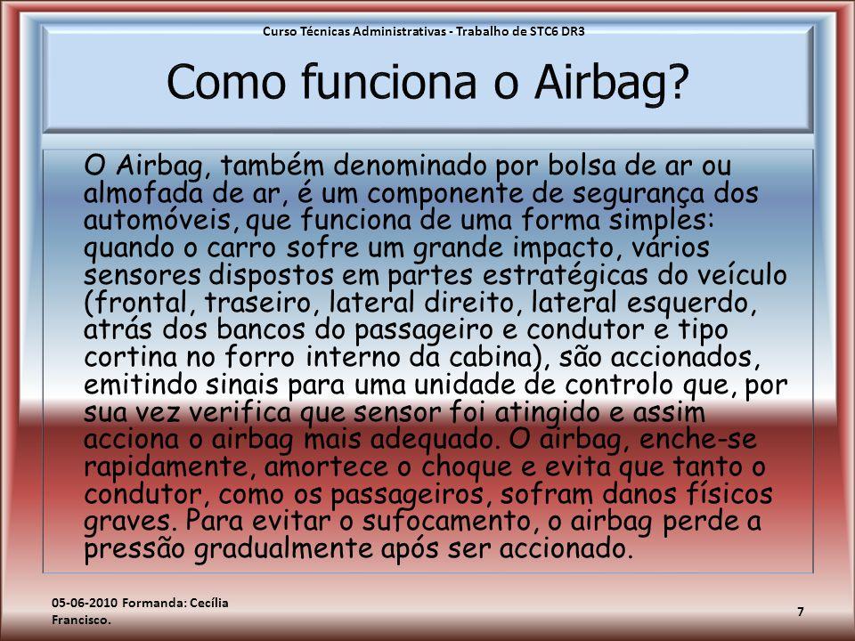 O Airbag, também denominado por bolsa de ar ou almofada de ar, é um componente de segurança dos automóveis, que funciona de uma forma simples: quando