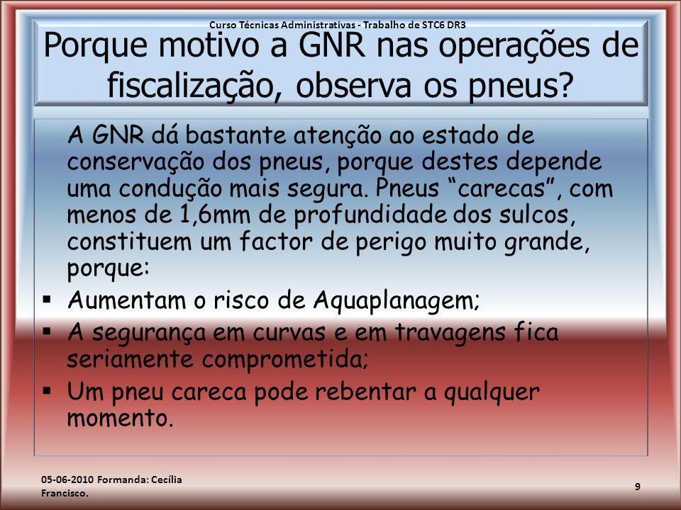 """A GNR dá bastante atenção ao estado de conservação dos pneus, porque destes depende uma condução mais segura. Pneus """"carecas"""", com menos de 1,6mm de p"""