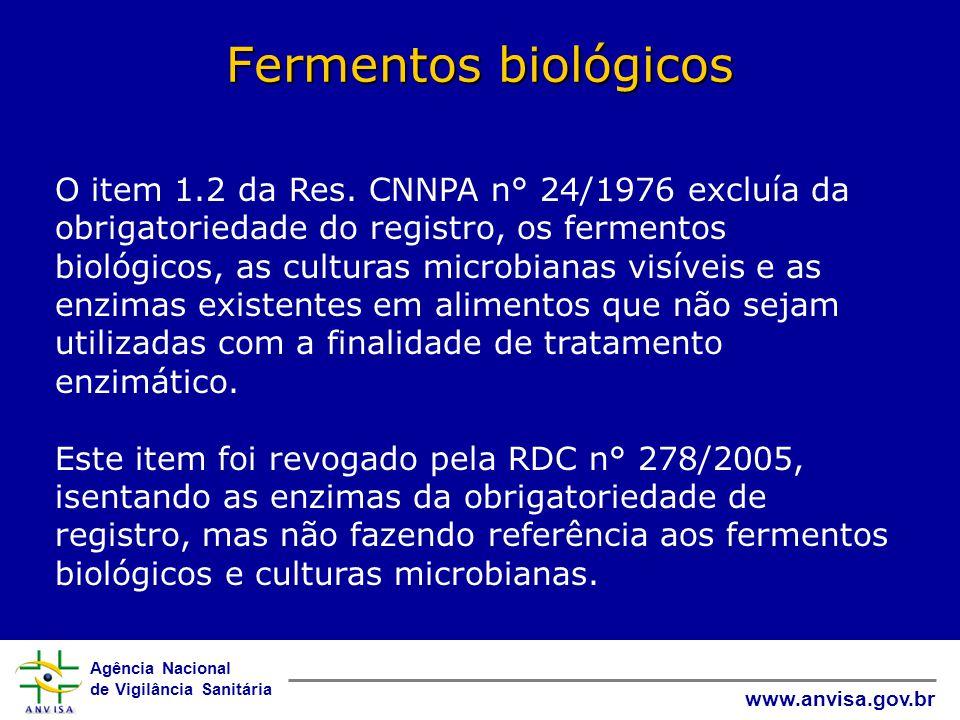 Agência Nacional de Vigilância Sanitária www.anvisa.gov.br Fermentos biológicos O item 1.2 da Res.