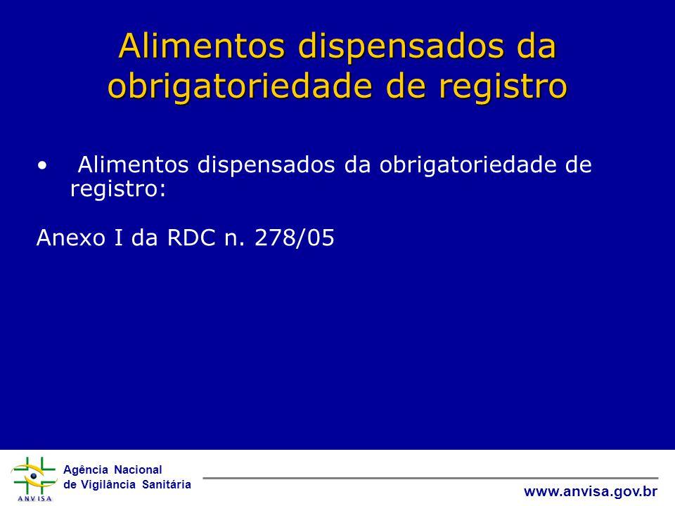 Agência Nacional de Vigilância Sanitária www.anvisa.gov.br Alimentos dispensados da obrigatoriedade de registro • Alimentos dispensados da obrigatoriedade de registro: Anexo I da RDC n.