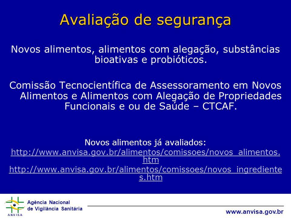 Agência Nacional de Vigilância Sanitária www.anvisa.gov.br Avaliação de segurança Novos alimentos, alimentos com alegação, substâncias bioativas e probióticos.