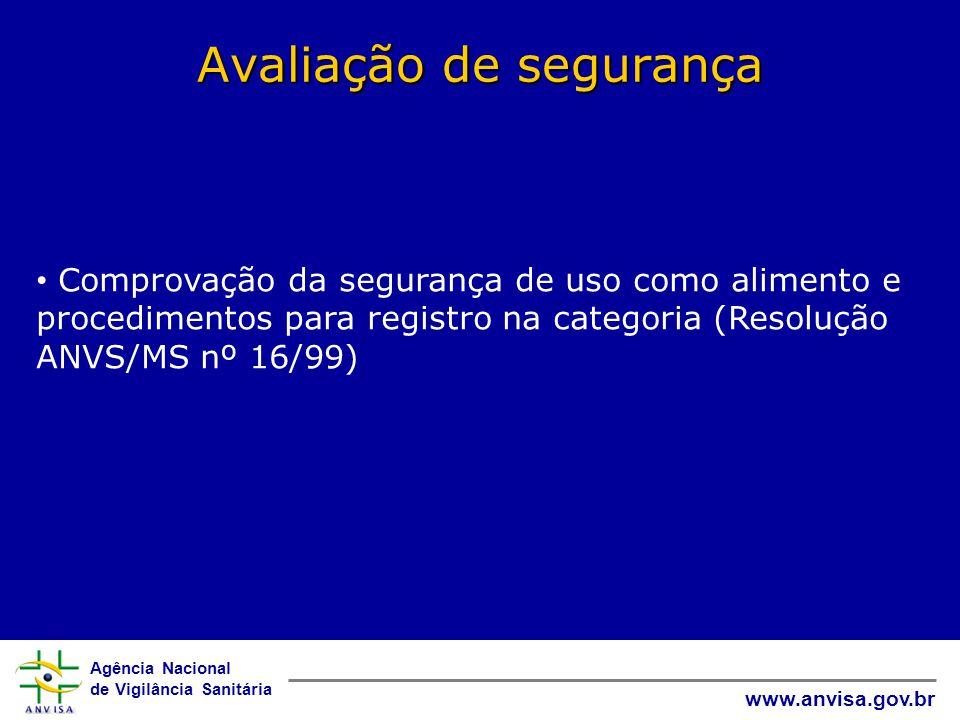 Agência Nacional de Vigilância Sanitária www.anvisa.gov.br Avaliação de segurança • Comprovação da segurança de uso como alimento e procedimentos para registro na categoria (Resolução ANVS/MS nº 16/99)
