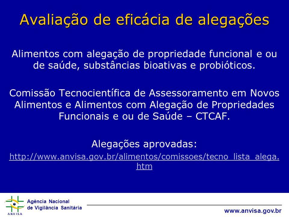 Agência Nacional de Vigilância Sanitária www.anvisa.gov.br Avaliação de eficácia de alegações Alimentos com alegação de propriedade funcional e ou de saúde, substâncias bioativas e probióticos.