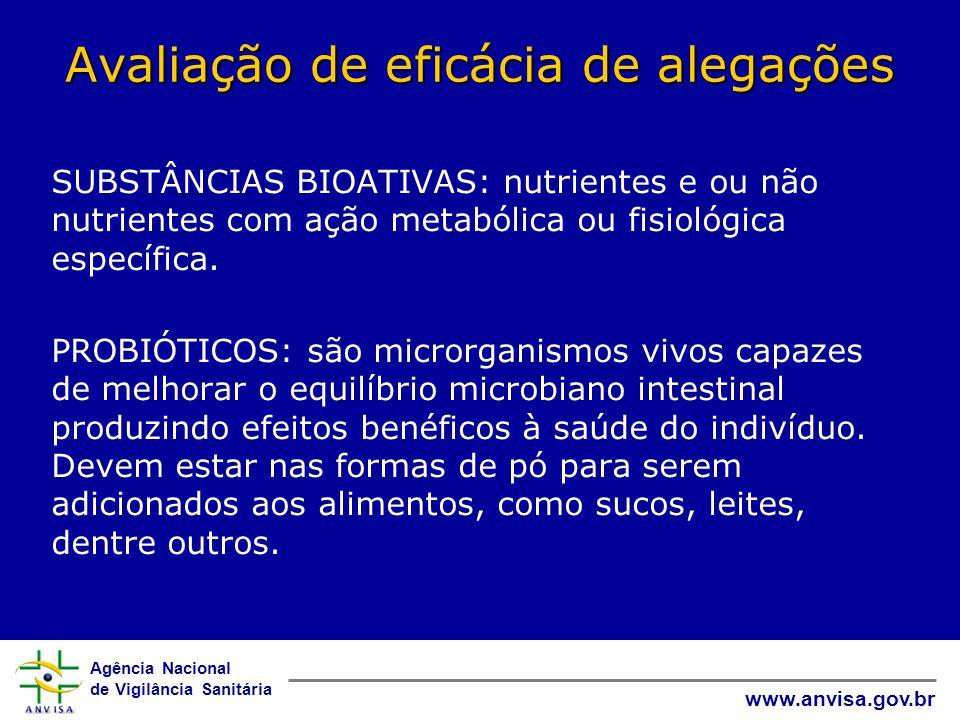 Agência Nacional de Vigilância Sanitária www.anvisa.gov.br Avaliação de eficácia de alegações SUBSTÂNCIAS BIOATIVAS: nutrientes e ou não nutrientes com ação metabólica ou fisiológica específica.