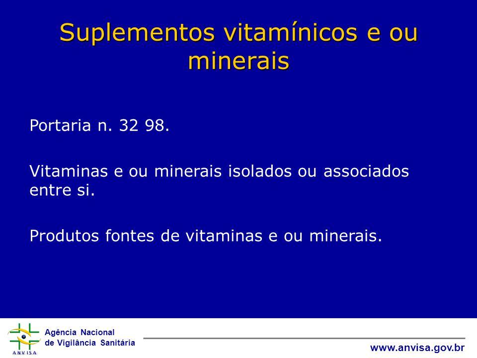 Agência Nacional de Vigilância Sanitária www.anvisa.gov.br Suplementos vitamínicos e ou minerais Portaria n.