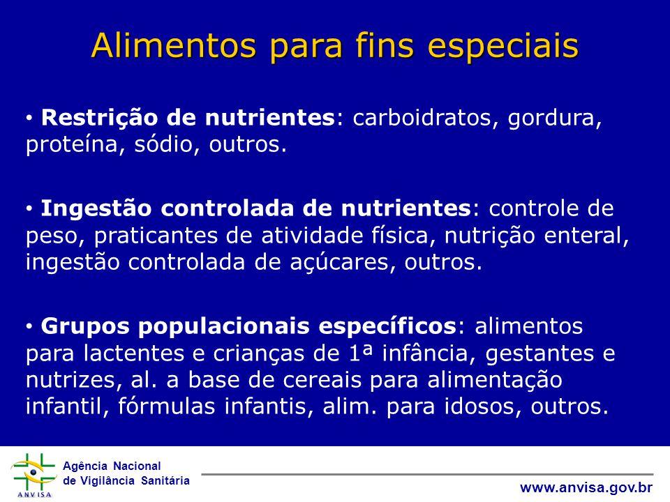 Agência Nacional de Vigilância Sanitária www.anvisa.gov.br Alimentos para fins especiais • Restrição de nutrientes: carboidratos, gordura, proteína, sódio, outros.