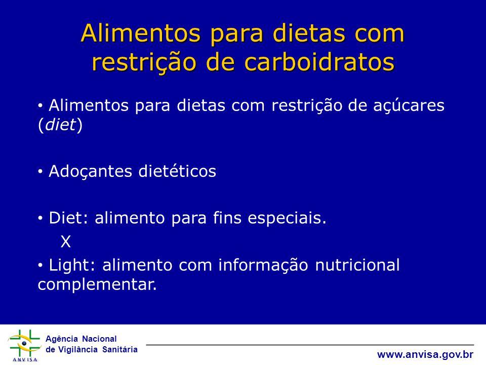 Agência Nacional de Vigilância Sanitária www.anvisa.gov.br Alimentos para dietas com restrição de carboidratos • Alimentos para dietas com restrição de açúcares (diet) • Adoçantes dietéticos • Diet: alimento para fins especiais.