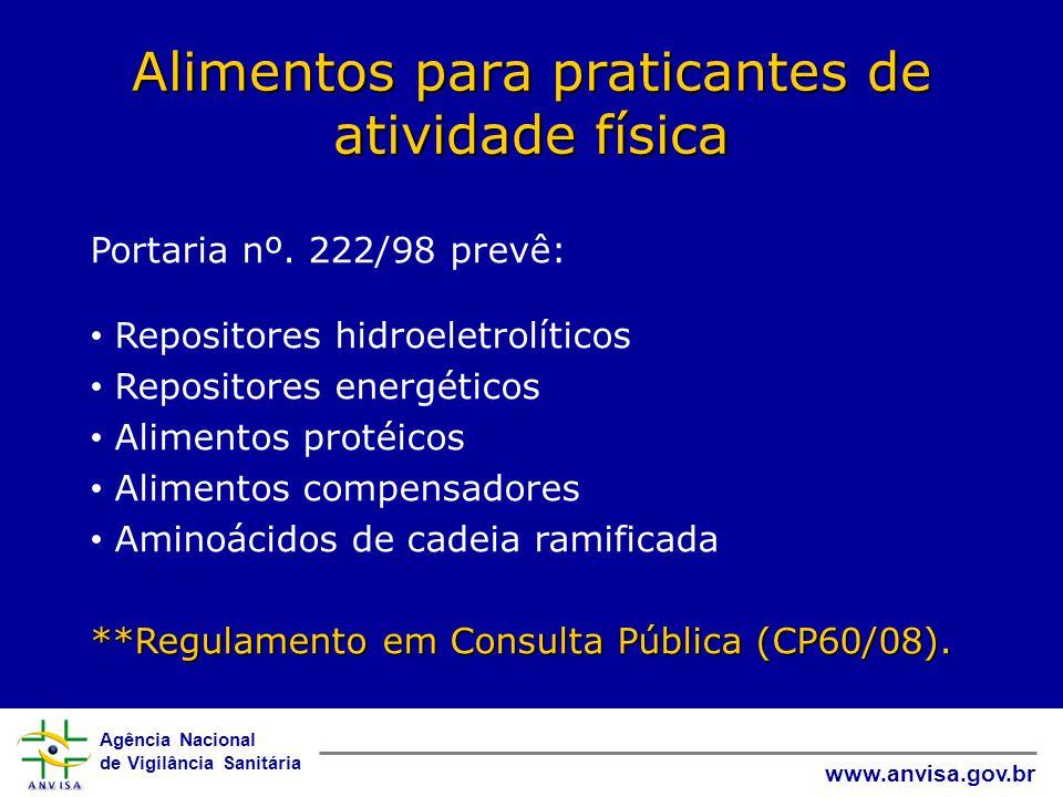 Agência Nacional de Vigilância Sanitária www.anvisa.gov.br Alimentos para praticantes de atividade física Portaria nº.