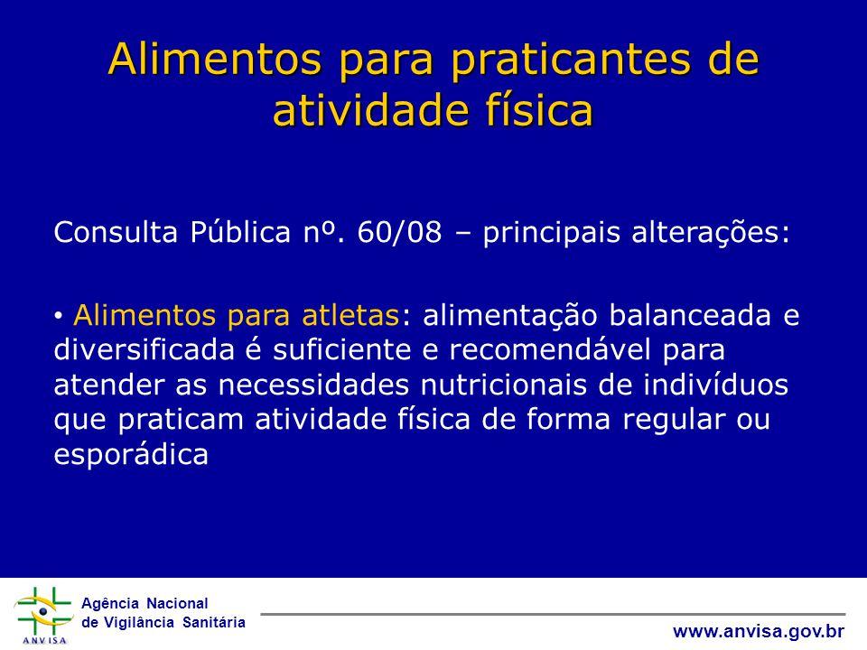 Agência Nacional de Vigilância Sanitária www.anvisa.gov.br Alimentos para praticantes de atividade física Consulta Pública nº.