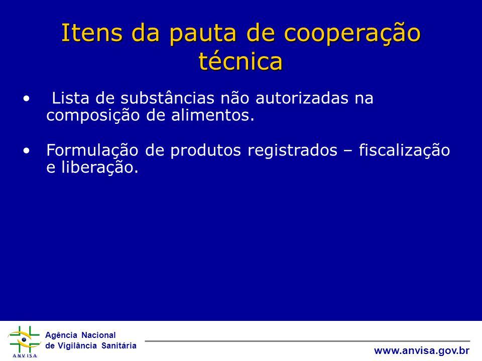 Agência Nacional de Vigilância Sanitária www.anvisa.gov.br Itens da pauta de cooperação técnica • Lista de substâncias não autorizadas na composição de alimentos.
