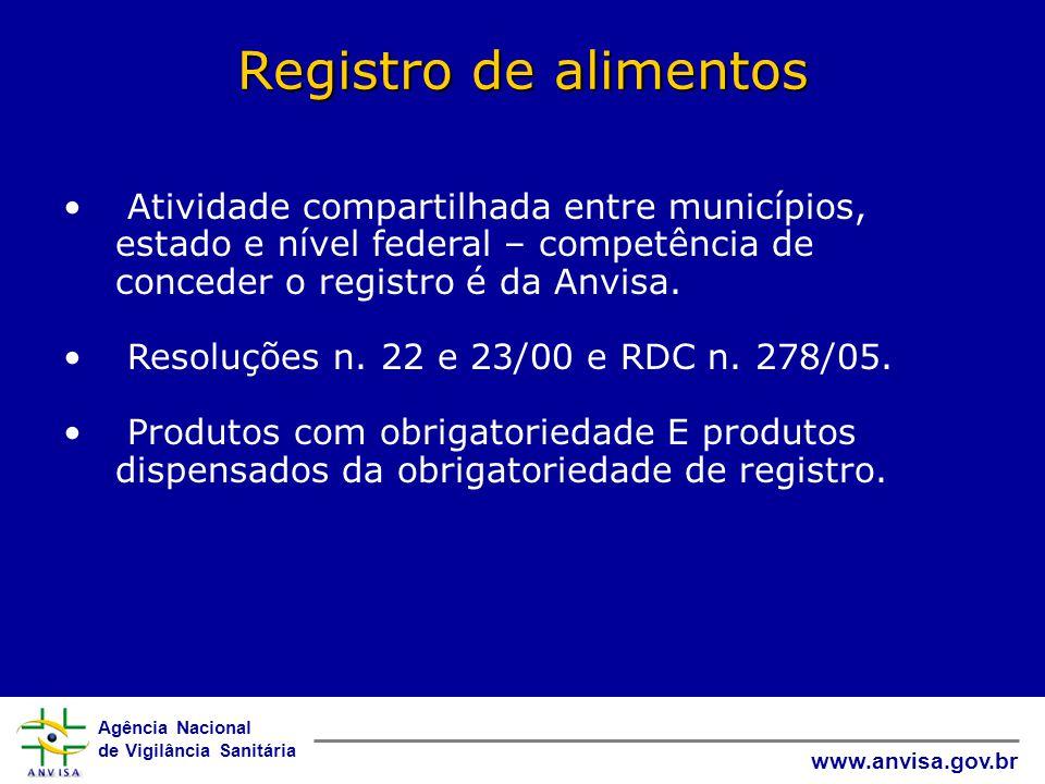 Agência Nacional de Vigilância Sanitária www.anvisa.gov.br Registro de alimentos • Atividade compartilhada entre municípios, estado e nível federal – competência de conceder o registro é da Anvisa.