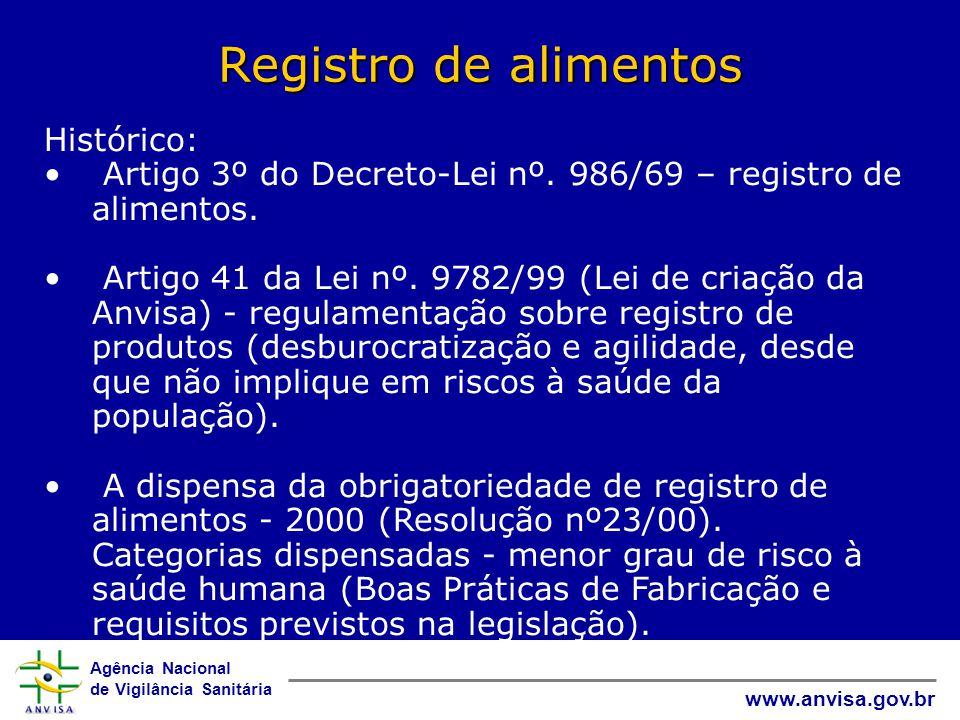 Agência Nacional de Vigilância Sanitária www.anvisa.gov.br Registro de alimentos Histórico: • Artigo 3º do Decreto-Lei nº.