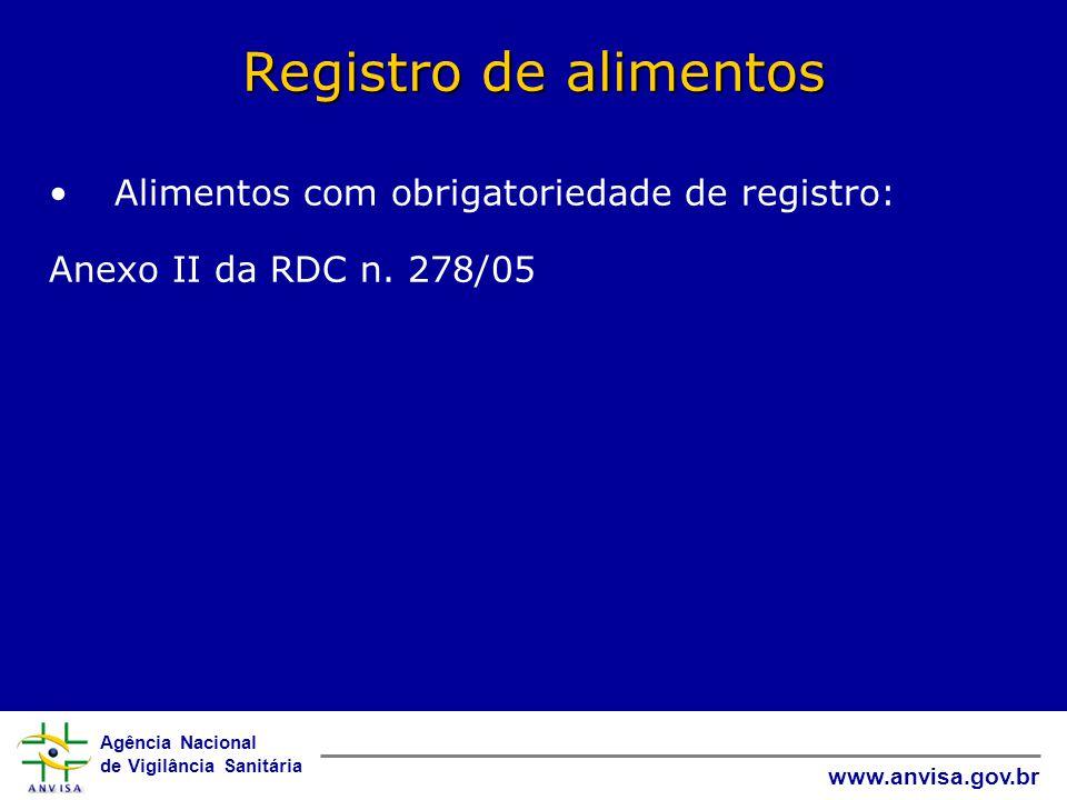 Agência Nacional de Vigilância Sanitária www.anvisa.gov.br Registro de alimentos • Alimentos com obrigatoriedade de registro: Anexo II da RDC n.