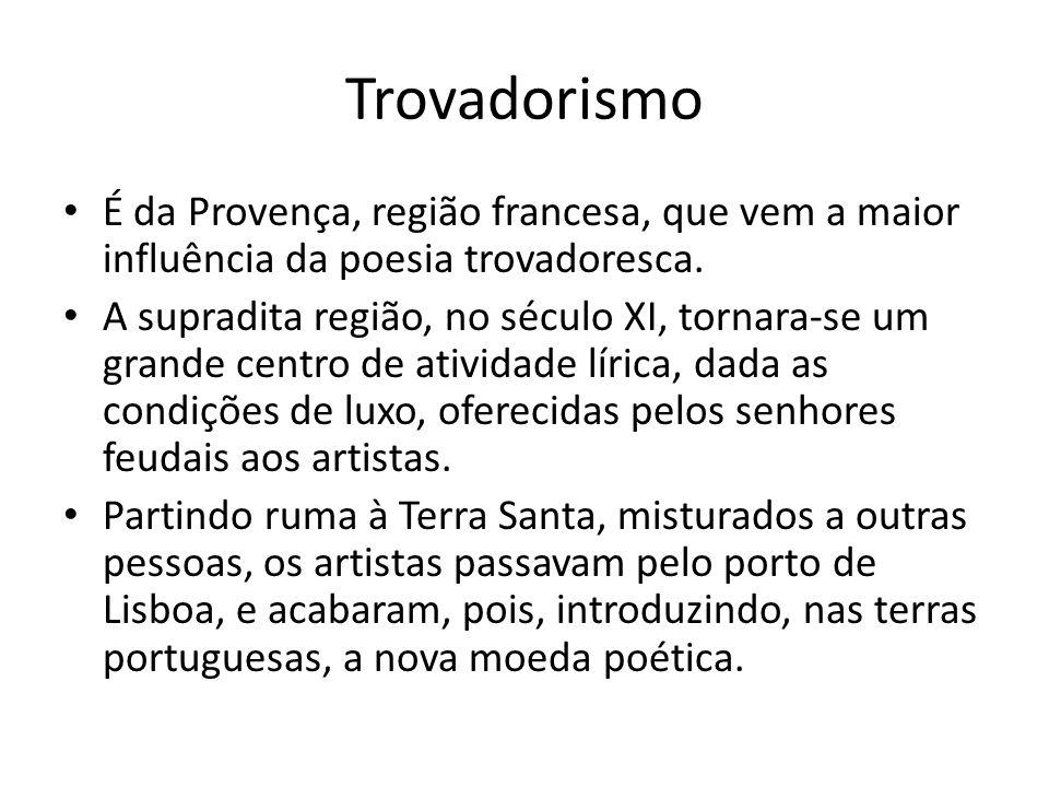 Trovadorismo • Na Provença, o poeta era chamado troubador, o trovador, da qual derivam as palavras trovadorismo e trovadoresco.