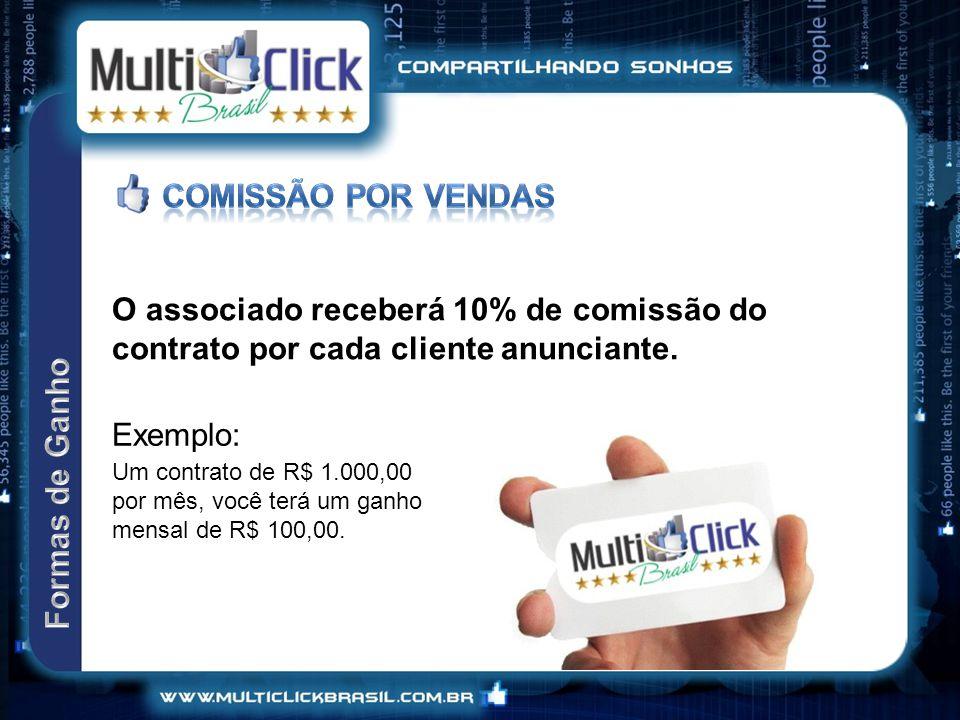 O associado receberá 10% de comissão do contrato por cada cliente anunciante.