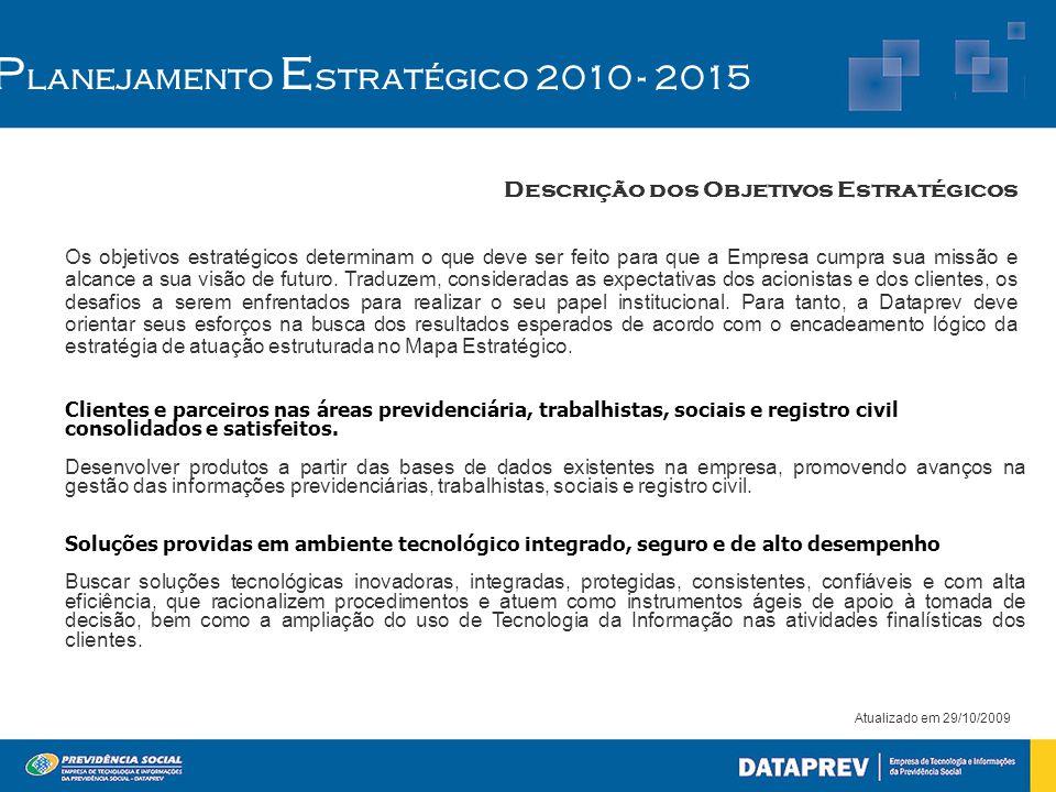 Atualizado em 29/10/2009 P lanejamento E stratégico 2010 - 2015 Descrição dos Objetivos Estratégicos Os objetivos estratégicos determinam o que deve s